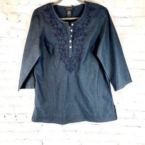 NWT Van Heusen Denim Embroidered Shirt